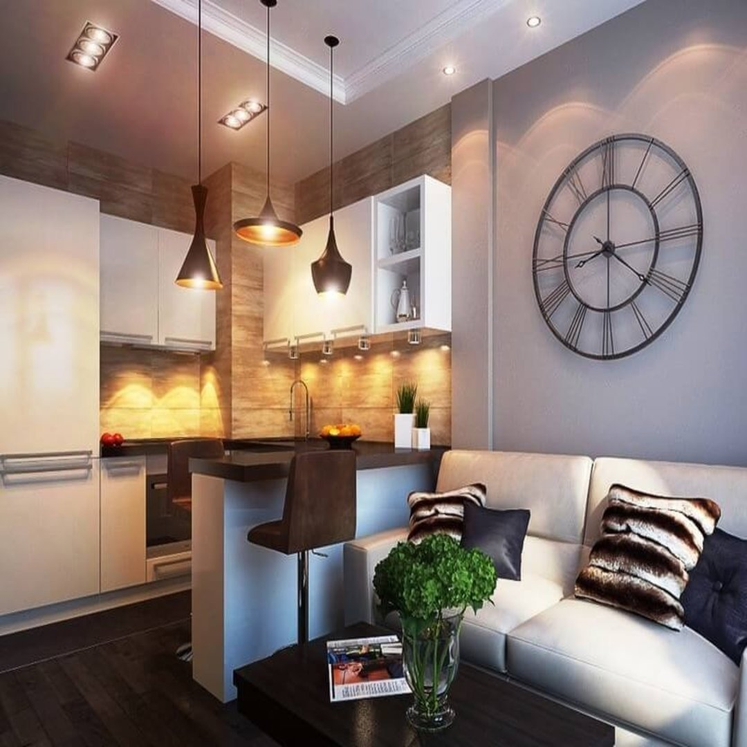 Дизайн квартиры-студии с барной стойкой