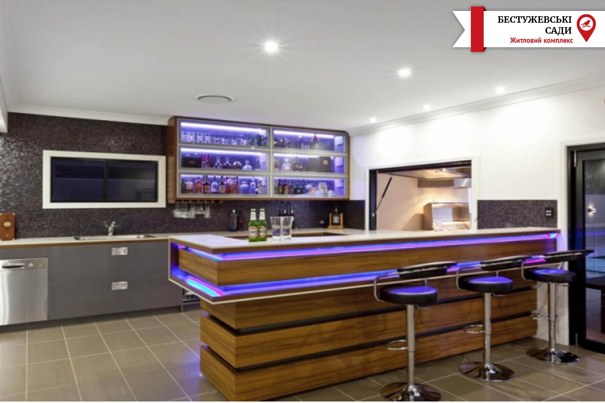 Чи зручний інтер'єр кухні з барною стійкою?