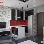 кухня студия в маленькой квартире
