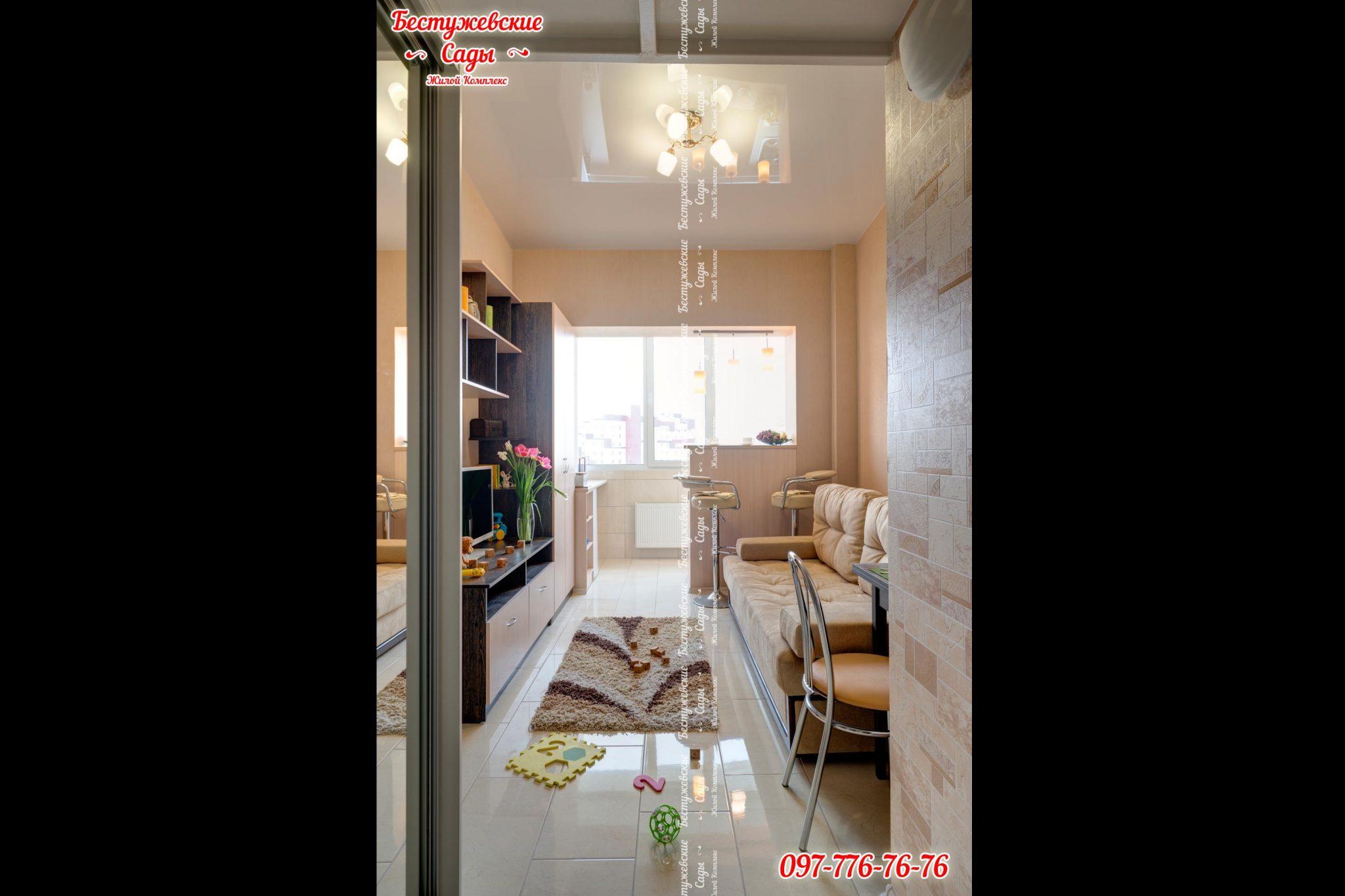 дизайн квартиры студии с двумя окнами