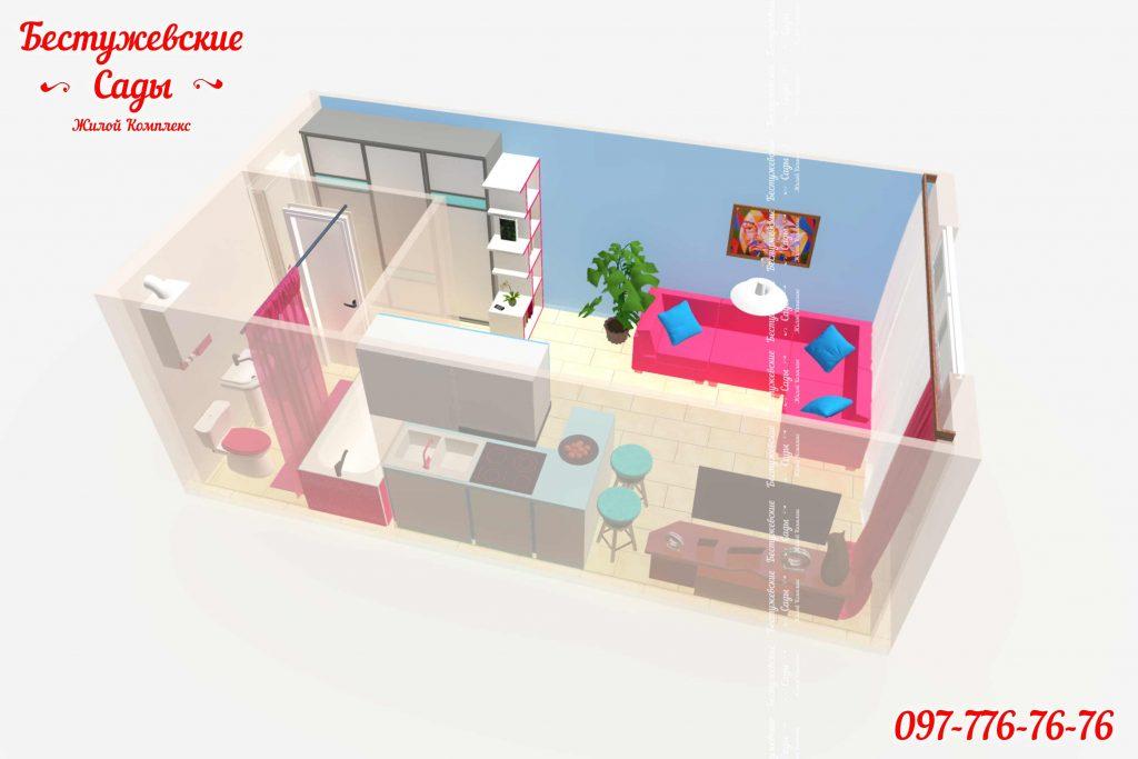 1 комнатные квартиры в рассрочку