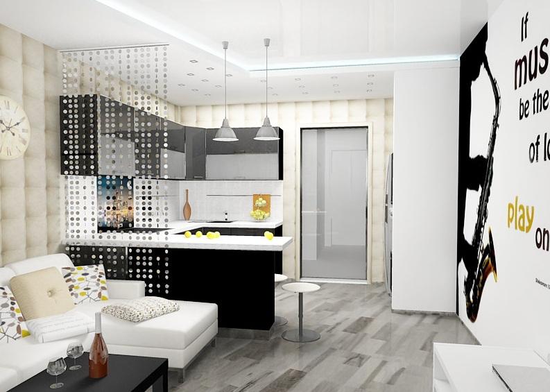 Барная стойка в квартире-студии – это, чаще всего, способ отделить кухонную зону от гостиной.