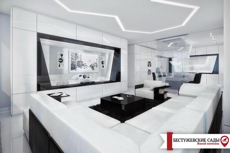 Белый хай-тек беспроигрышный вариант дизайна квартиры