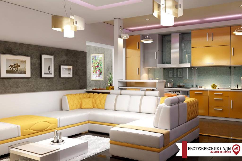 Варианты дизайна интерьера гостиной с кухней