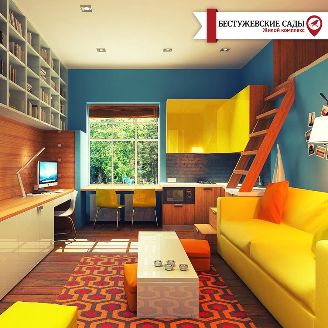Яркое оформление квартиры - студии