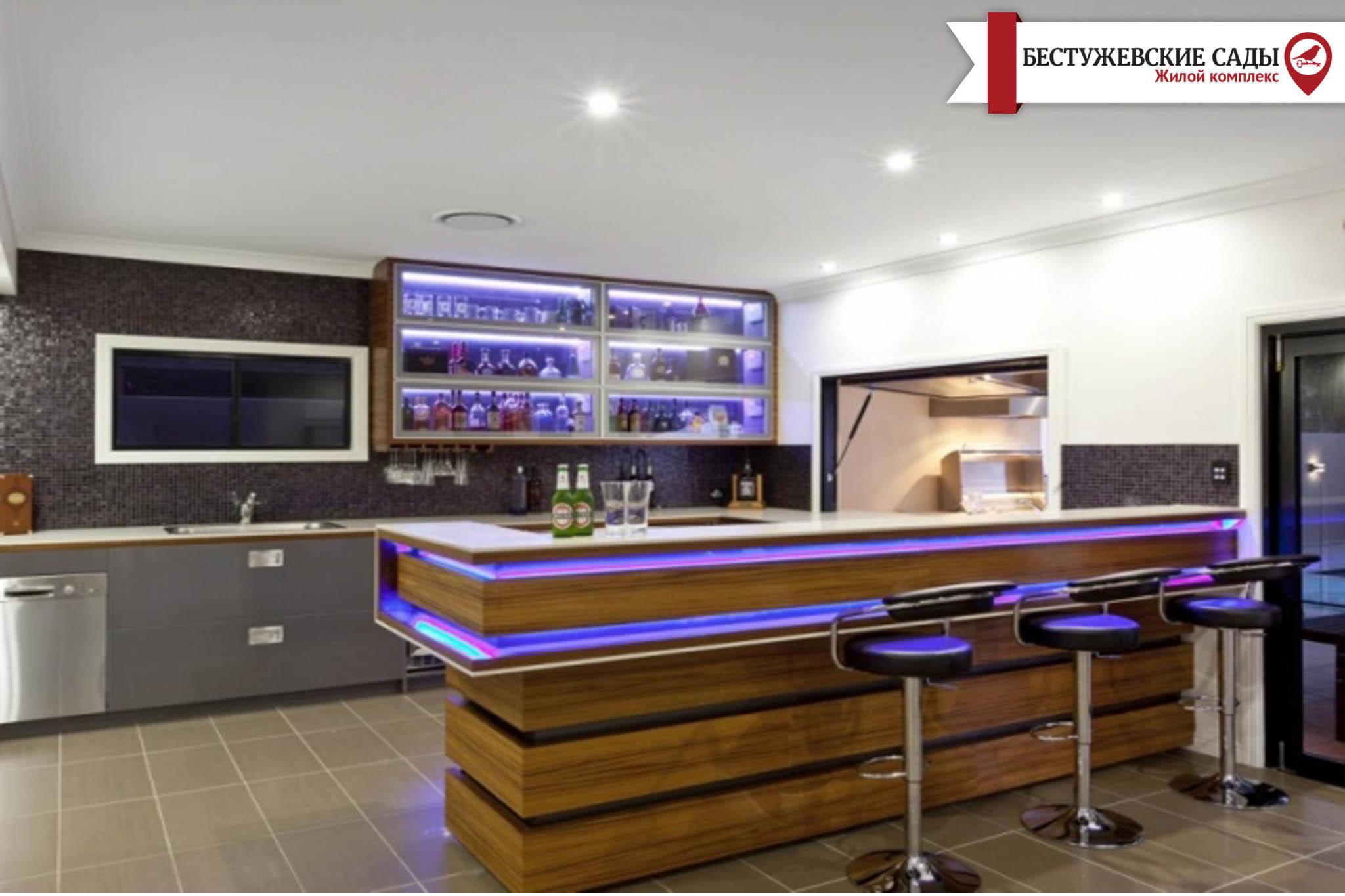 Удобен ли интерьер кухни с барной стойкой?