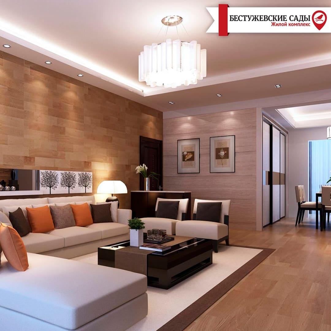 Гостиная комната в стиле контемпорари